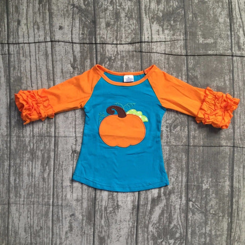 Pumpkin Ruffled Icing Fall T-Shirt - Orange/Blue - ARIA KIDS