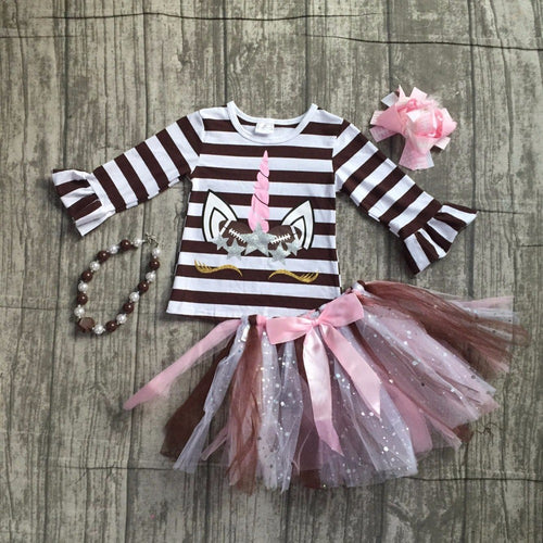 Striped Unicorn Football Top Tutu Skirt - 4 piece set with Accessories - ARIA KIDS