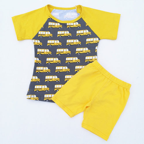 Boys Yellow and Grey Printed Car Short Set - ARIA KIDS