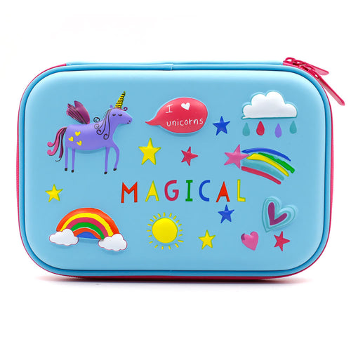 Magical Unicorn Pencil Case - Blue, Pink, Purple - ARIA KIDS