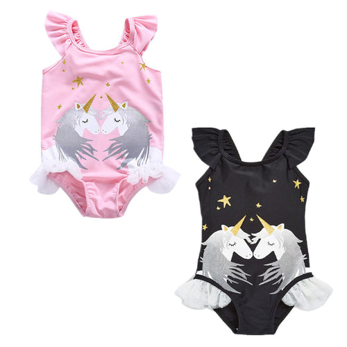 Magical Unicorn Swimsuit - Pink & Black - ARIA KIDS