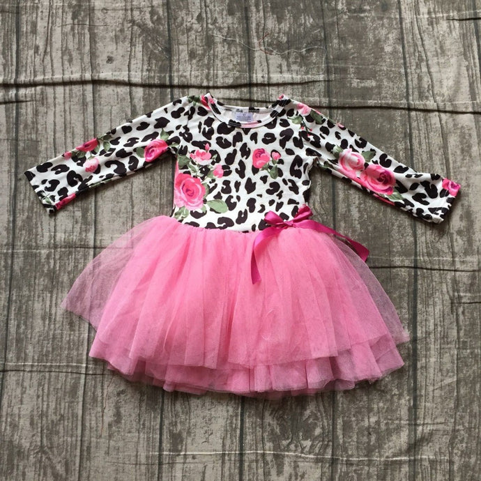Leopard Floral Rose Tutu Dress - ARIA KIDS