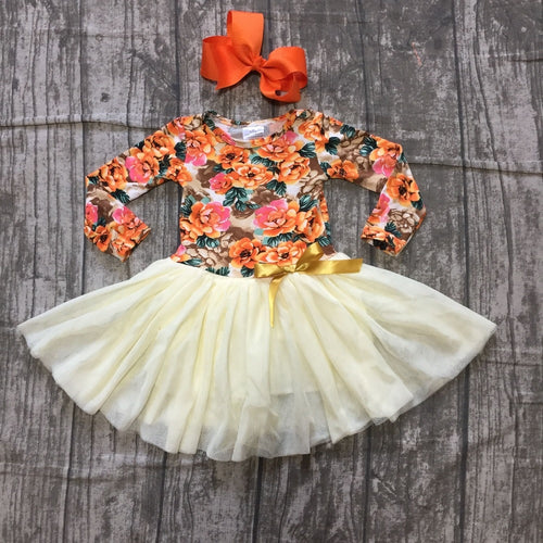 Autumn Floral Tutu Dress with Hair Bow - ARIA KIDS