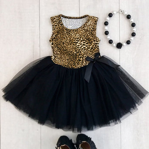 Leopard Tutu Dress in Black - ARIA KIDS