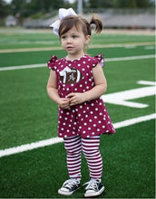PINK - Football Polka Dot Flutter Sleeve Top & Striped Pants 4-Piece Set - ARIA KIDS