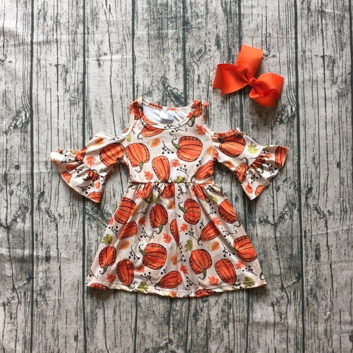 Pumpkin Cold Shoulder Bell Sleeve Halloween Party 2-Piece outfit - ARIA KIDS