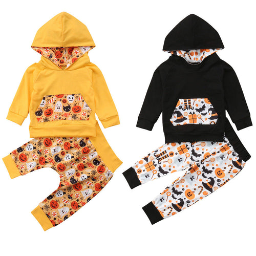 Halloween Unisex Pumpkin Hoodie Top + Pants 2-Piece Outfit - ARIA KIDS
