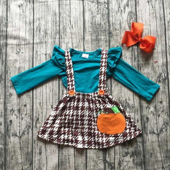 Teal Brown - Pumpkin Houndstooth Suspender Skirt 3-Piece Set (Accessories included) - ARIA KIDS