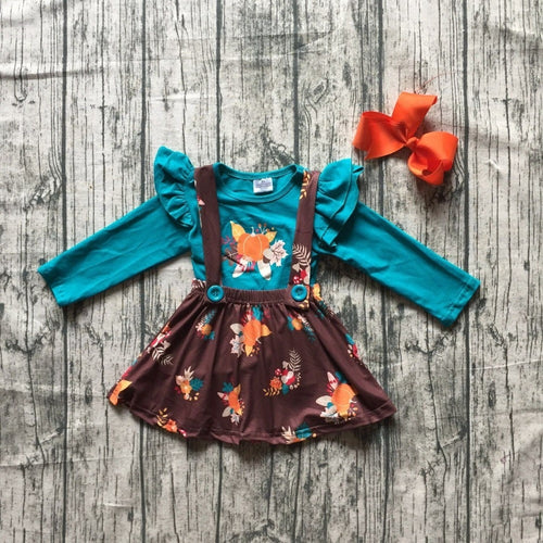 Teal Brown Fall Pumpkin Suspender Skirt 3-Piece Set (with Accessories) - ARIA KIDS