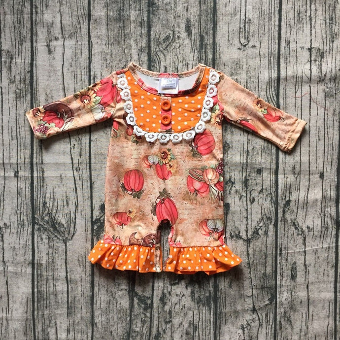 Little Pumpkin Ruffle Romper for Thanksgiving - ARIA KIDS