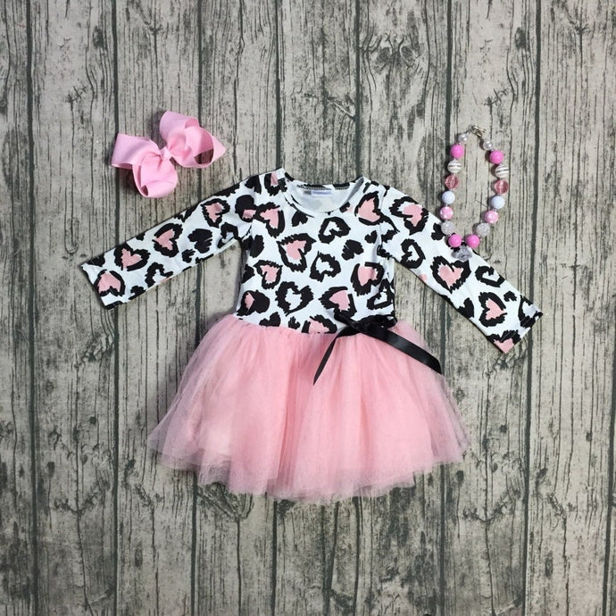 Pink Leopard Hearts Tutu Dress 3-Piece set (with accessories) - ARIA KIDS