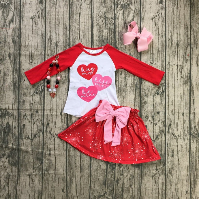 Valentine's Day Hug Me Kiss Me Be Mine 4-Piece Outfit - ARIA KIDS