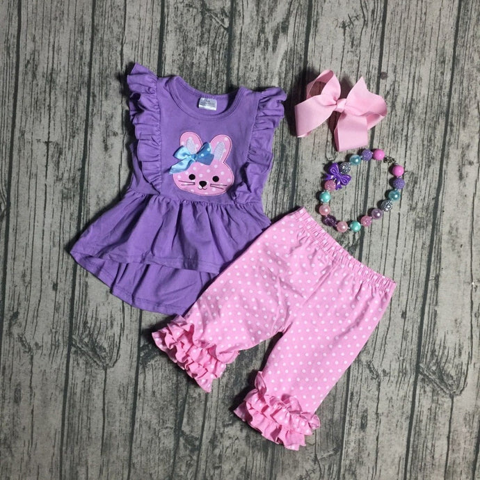Ruffle Bunny Capri Shorts 4- Piece SET (Free accessories) - ARIA KIDS