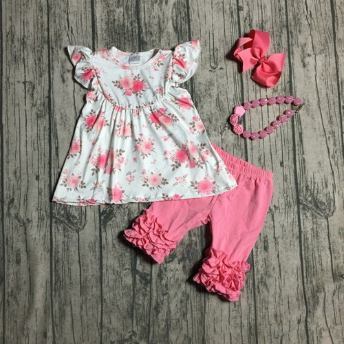 Alisha Floral Pearl Top and Coral Capri Outfit 4-Piece SET - ARIA KIDS