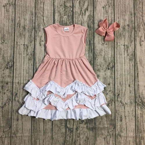 Dusty Pink Ruffle Dress with Necklace & Bow - ARIA KIDS