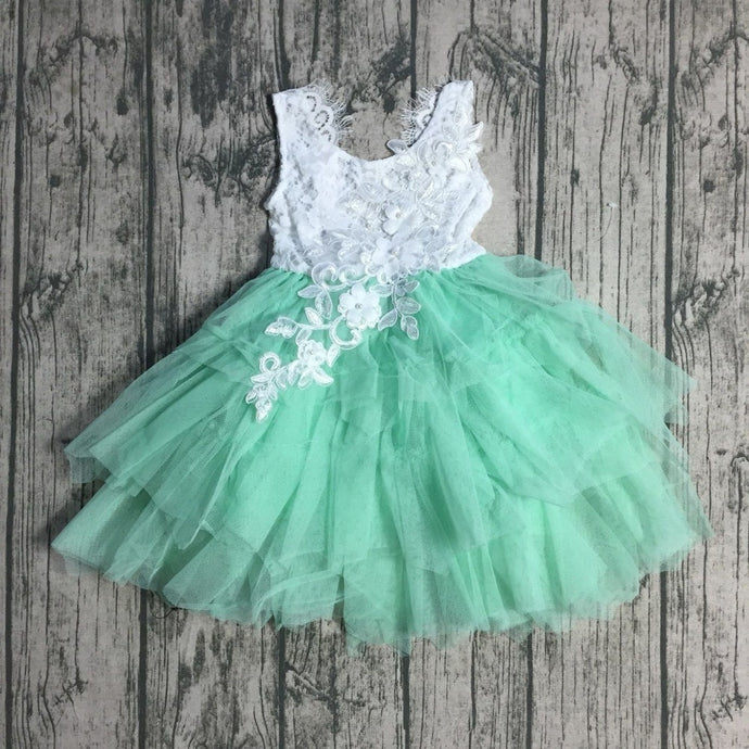 Chloe Embroidered Lace Tutu Easter, Birthday Dress in Mint - ARIA KIDS
