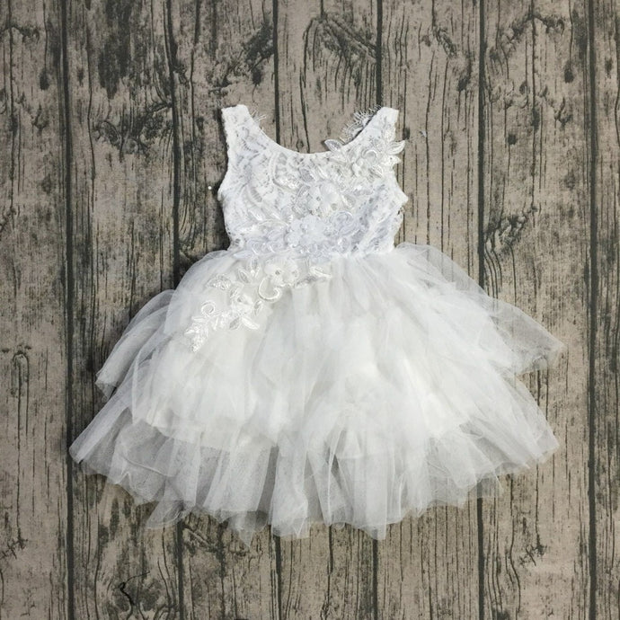 Chloe Embroidered Lace Tutu Easter, Birthday Dress in White - ARIA KIDS