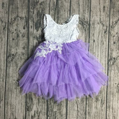 Chloe Embroidered Lace Tutu Easter, Birthday Dress in Lavender - ARIA KIDS