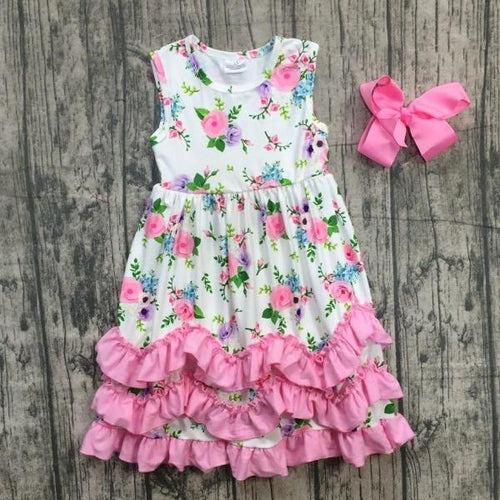 Pink White Floral Ruffle Dress with Bow & Necklace - ARIA KIDS