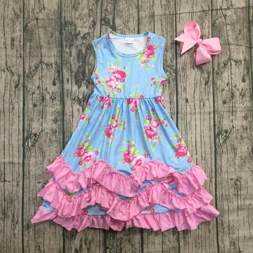 Blue & Pink Floral Ruffle Dress with Necklace & Bow - ARIA KIDS