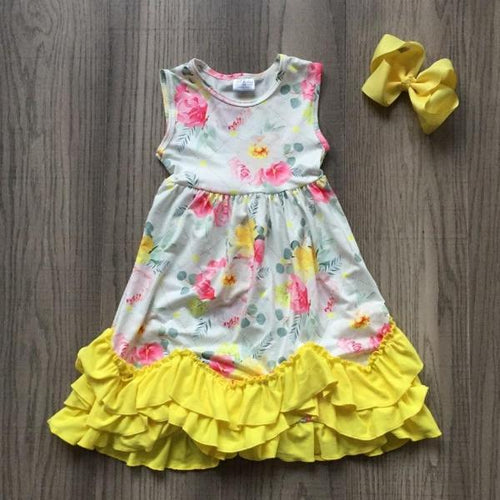 Lemon Yellow Floral Ruffle Dress with 5