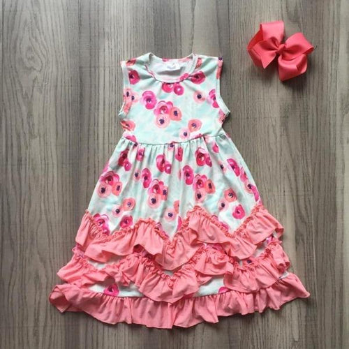 Caroline Floral Ruffle Dress in Coral (FREE 5
