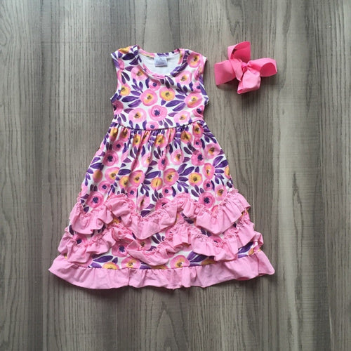 Penelope Floral Ruffle Dress - Pink & Purple - ARIA KIDS