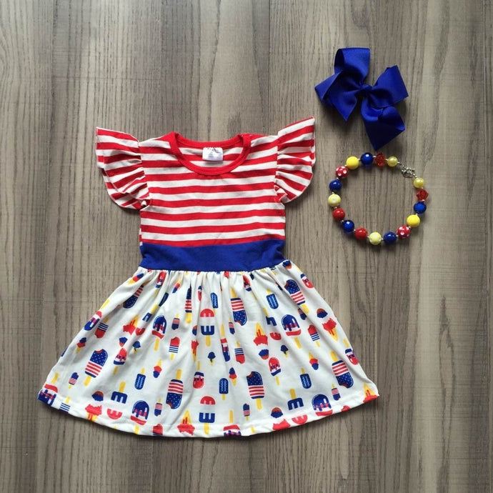 Ice Cream & Stripes 4th July Flutter Sleeve Dress 3-Piece Set - ARIA KIDS