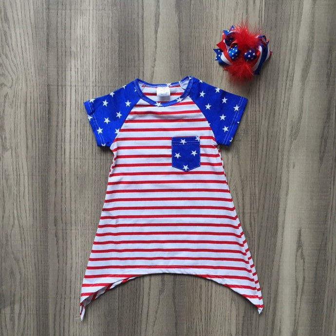 4th Of July Stripes & Stars Pocket Short Dress (With Hair Bow Clip) - ARIA KIDS