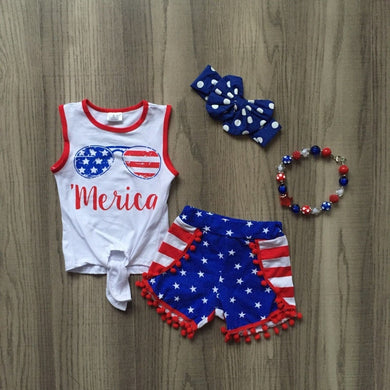 'Merica Stars & Stripes Pom-Pom Shorts 4-Piece outfit - ARIA KIDS