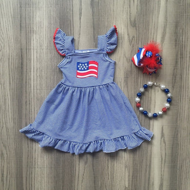 American Flag Flutter Sleeve Dress 3-Piece Set - ARIA KIDS
