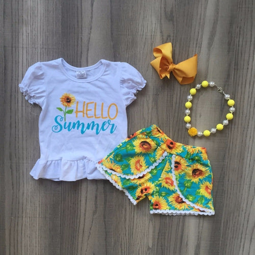 Hello Summer Sunflower Shorts 4-Piece set (accessories included) - ARIA KIDS