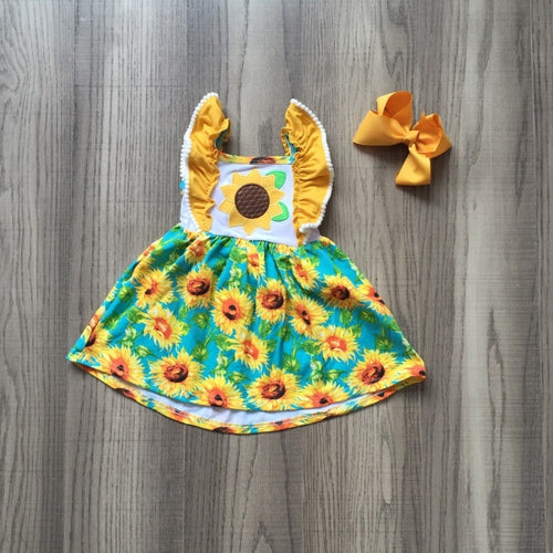 Sunflower Flutter Sleeve Dress with Bow - ARIA KIDS