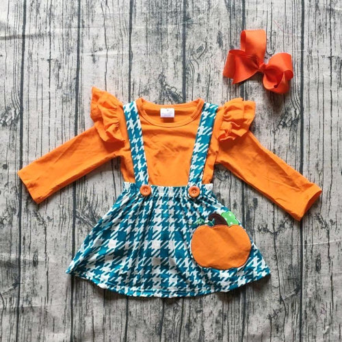 Orange Teal - Pumpkin Houndstooth Suspender Skirt 3-Piece Set (Accessories included) - ARIA KIDS