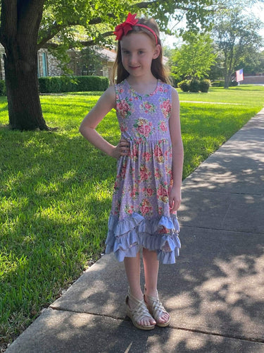 Pink & Purple Floral Ruffle Dress - ARIA KIDS