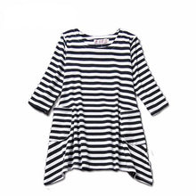 """Harper"" Black/White Striped Pocket Dress - ARIA KIDS"