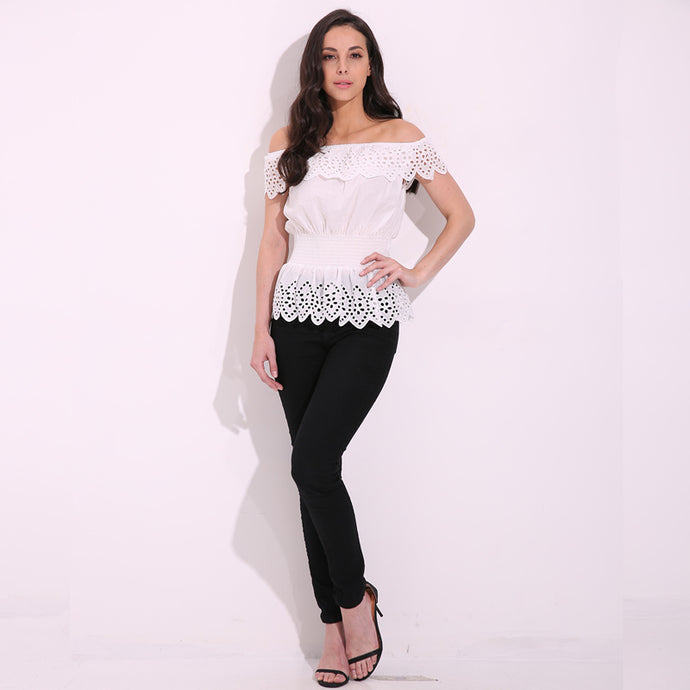 b70f2e9b94b ... Ladies 'Jazabel' Off Shoulder Lace Blouse in White - ARIA KIDS ...