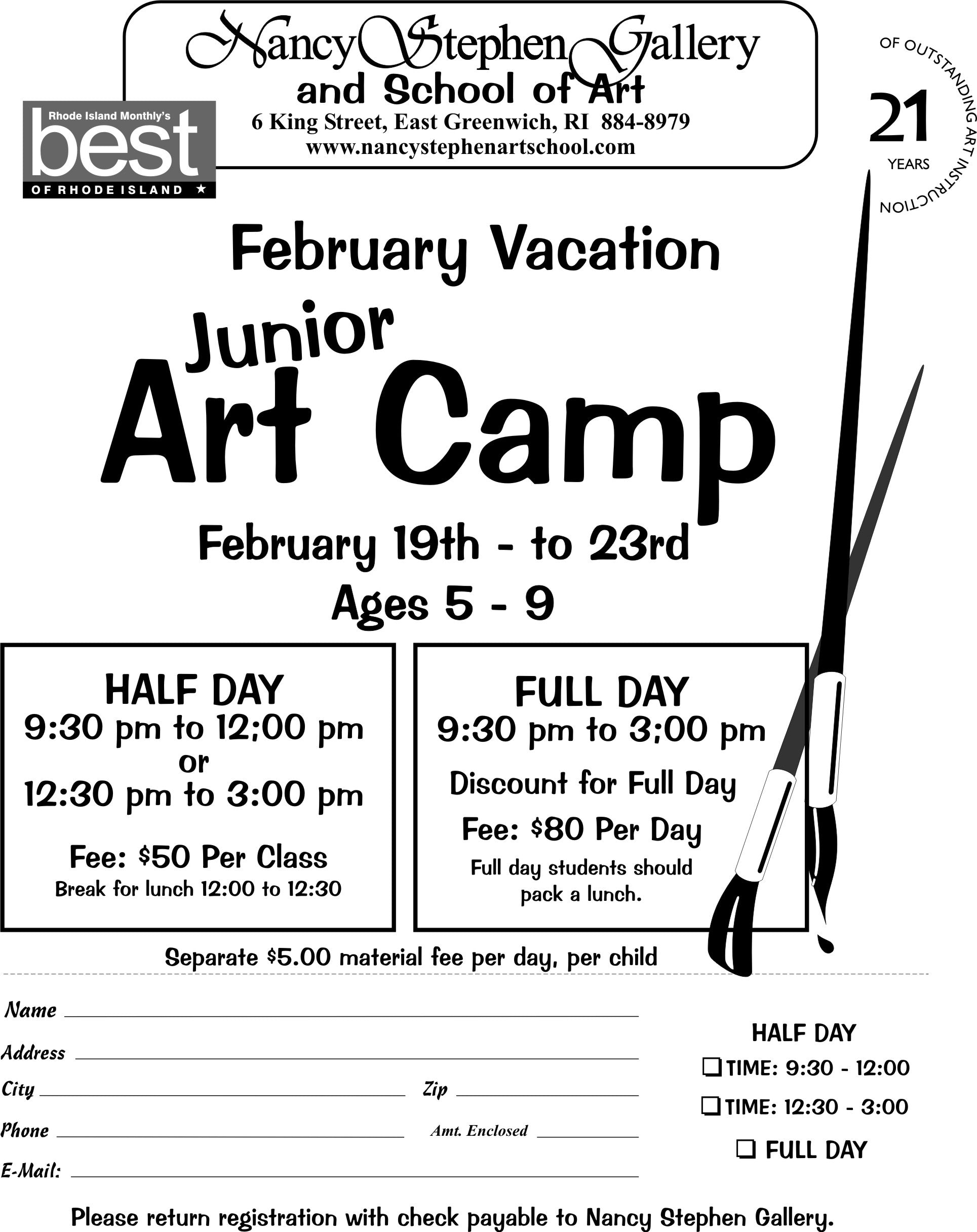 february art school vacation