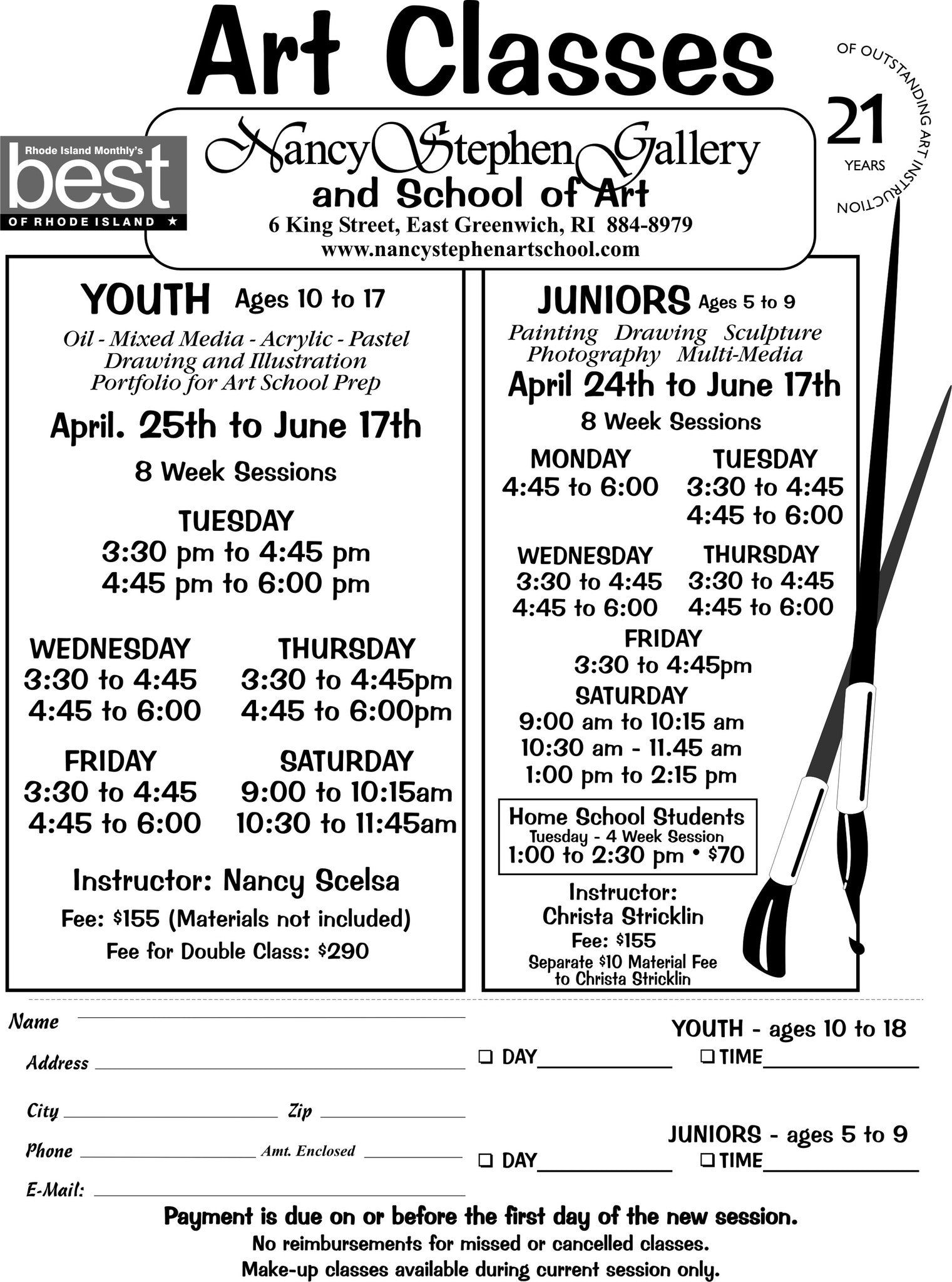 Youth and Junior Art Class Registration form