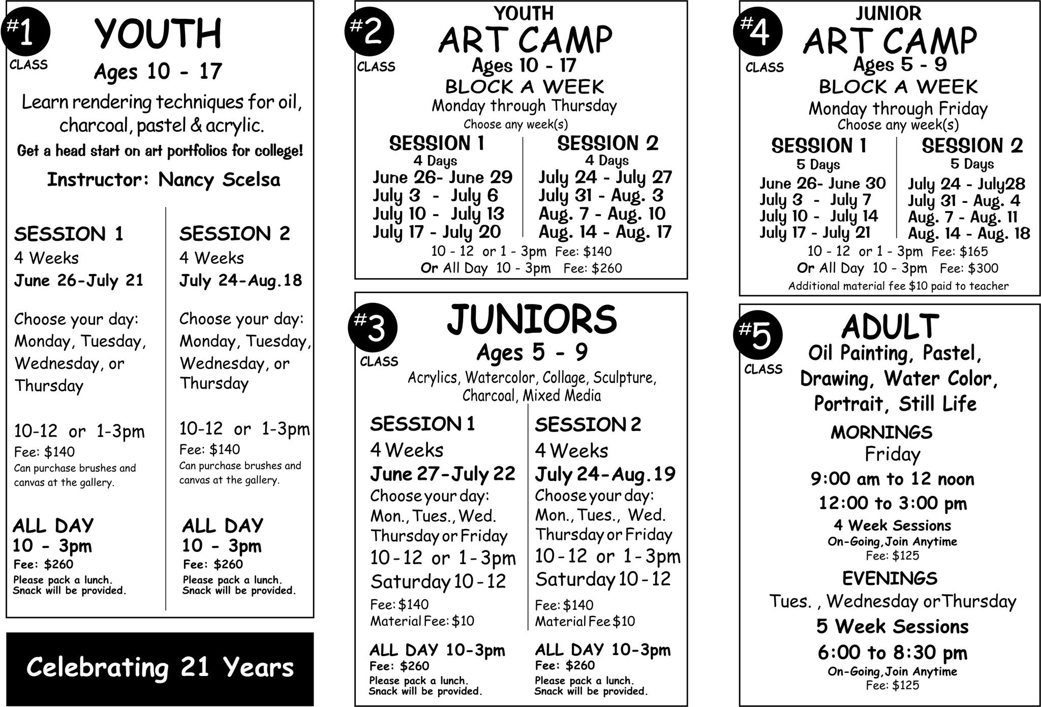 Summer Art Camp Schedule