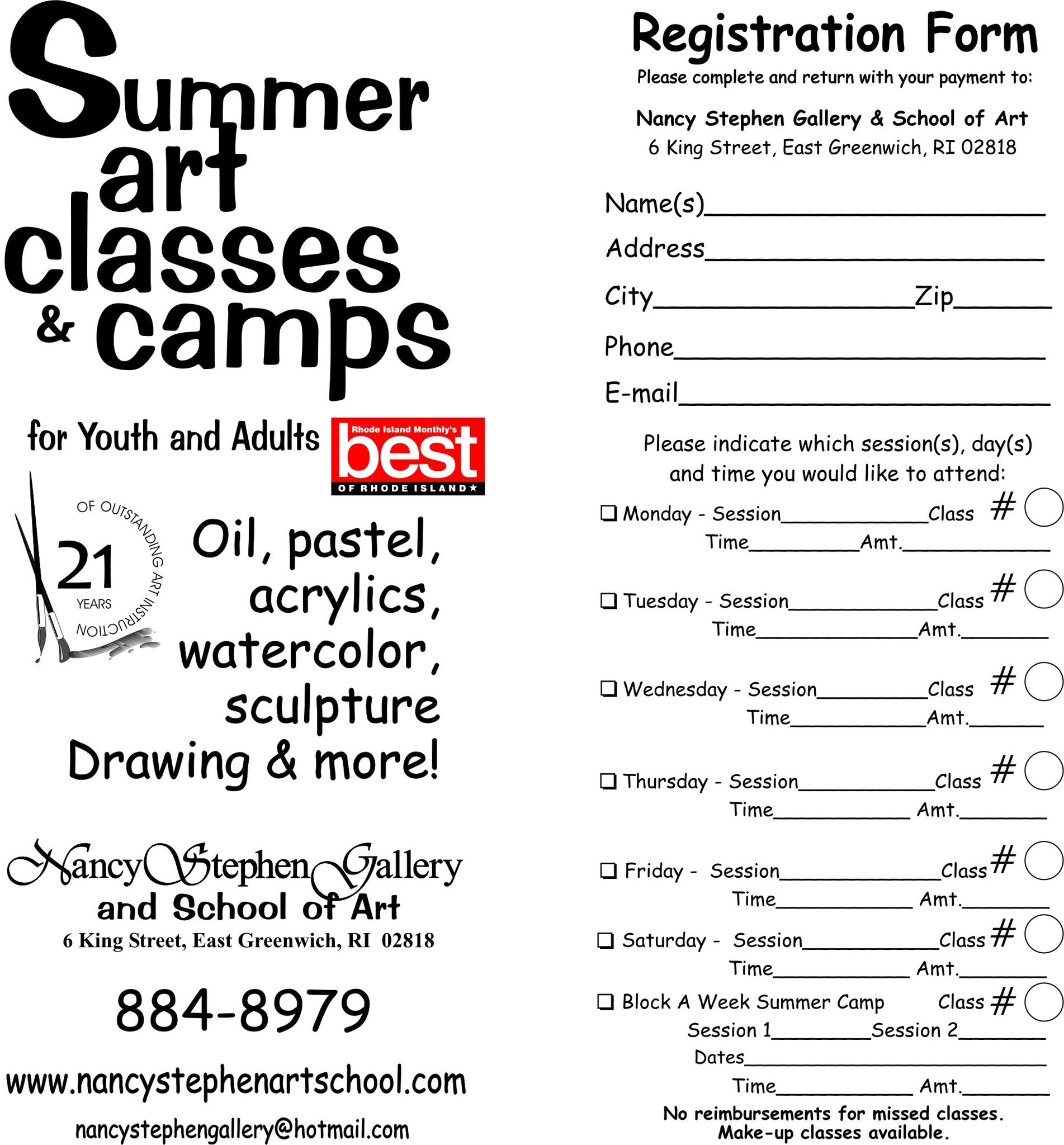 Summer Camp Art Class Registration Form