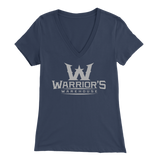 Women's V-Neck Shirt - Gray Logo $14.99