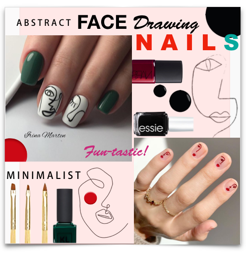 Abstract Face Line Drawing Nails