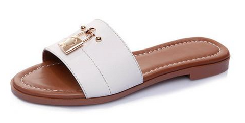 Lock Slide Leather Slipper Sandals