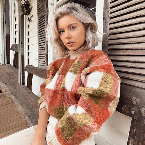 Serah Vintage Teddy Plush Plaid Sweatshirt - 2 Colors