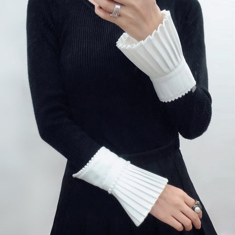 Pleated and Beaded Sleeve Cuffs