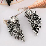 Crystal Vintage Silver Feather Earrings