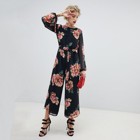 Sheila Dark Floral Backless Jumpsuit