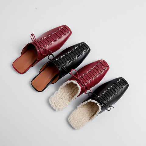 Genuine Leather Mule Slippers with Lace-Up Details - 2 Colors