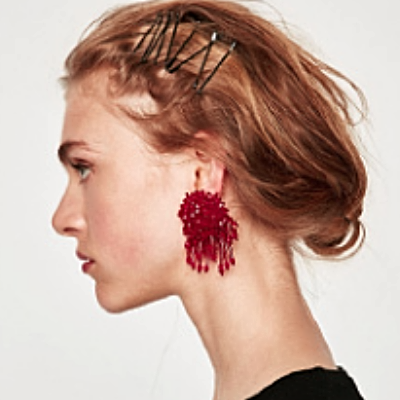 Dahlia Crystal Beads Tassel Earrings